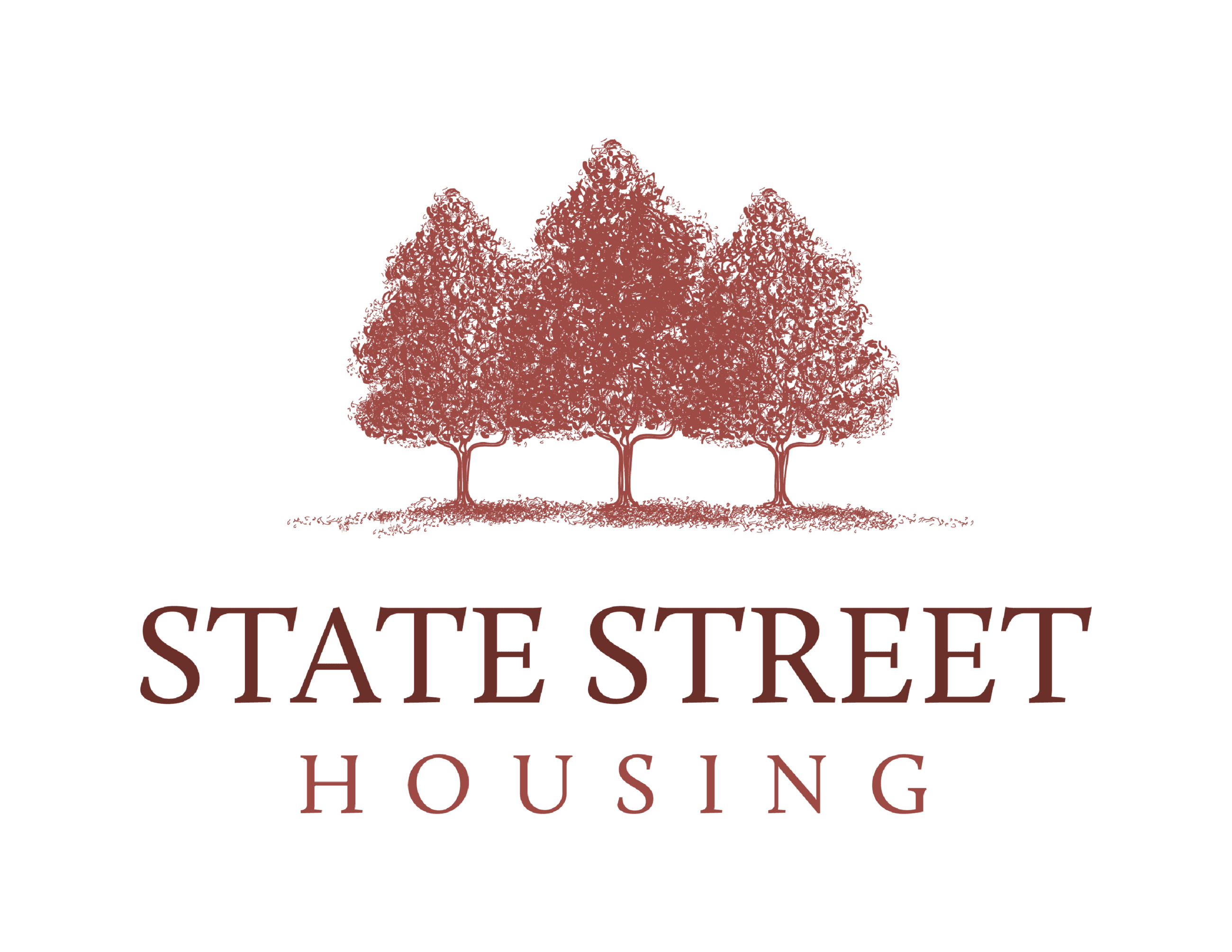 """State Street Housing Preservation Corp. Logo: three fir trees over the words """"state street housin"""